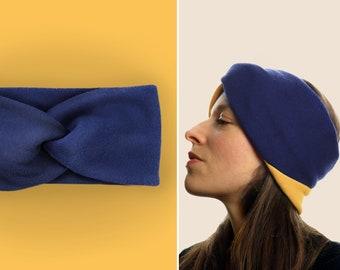 Headband 100% cotton fleece / warm / cuddly / soft / supple / elastic / lined / cobalt blue / custom color selection