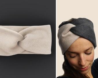 Headband 100% cotton fleece / warm / cuddly / soft / supple / elastic / lined / beige / custom color selection