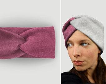 Headband 100% cotton fleece / warm / cuddly / soft / supple / elastic / lined / berry / custom color selection