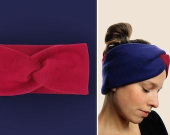 Headband 100% cotton fleece / warm / cuddly / soft / supple / elastic / lined / bordeaux / custom color selection