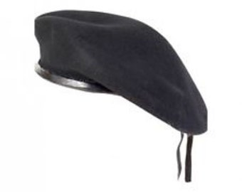 59061f7e16d Black Military Army Beret with leather trim