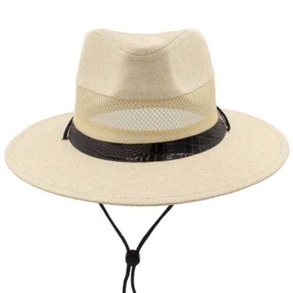 259c09db9 Handmade Straw Panama Hats Wide Brim Sunhat Cowboy Western Sombrero Caps  Fedora (Beige and Brown)