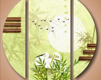 Bambus 3 Panel Leinwand Vogel Kunst Grün Wald Malerei HD Print Schimmer  Poster Wandhängen Bilder Rahmen Für Wohnzimmer