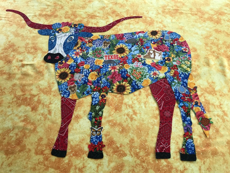 Bluebonnet the Longhorn Collage Art Quilt Pattern image 0