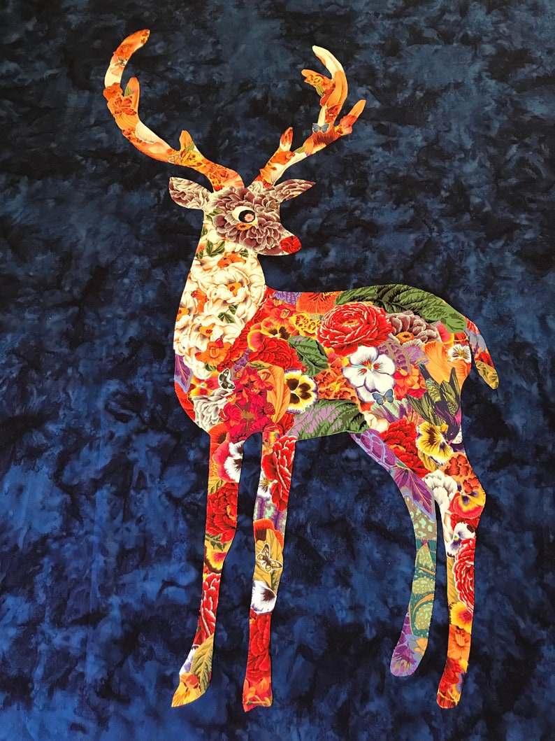 Trudi the collage art quilt reindeer pattern image 0