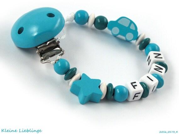 türkis Baby Geschenk grau Sterne Schnullerkette mit Namen Junge