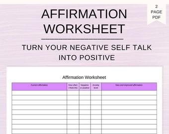 Affirmation Worksheet Positive Mental Health Etsy