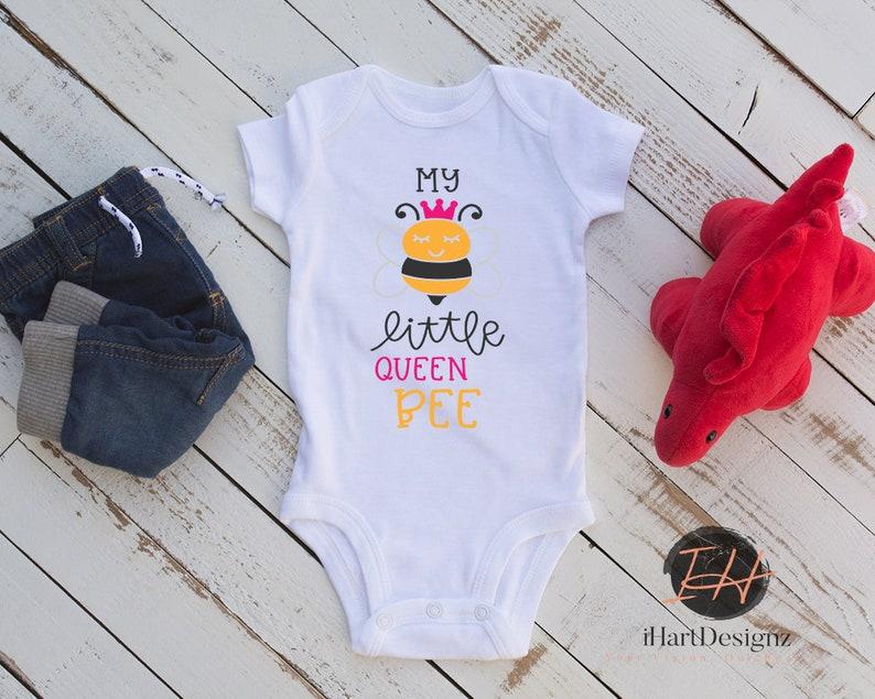girl baby gifts infant bodysuits going home gift baby girl My little Queen Bee toddler tees bee baby shower gift preemie onesie
