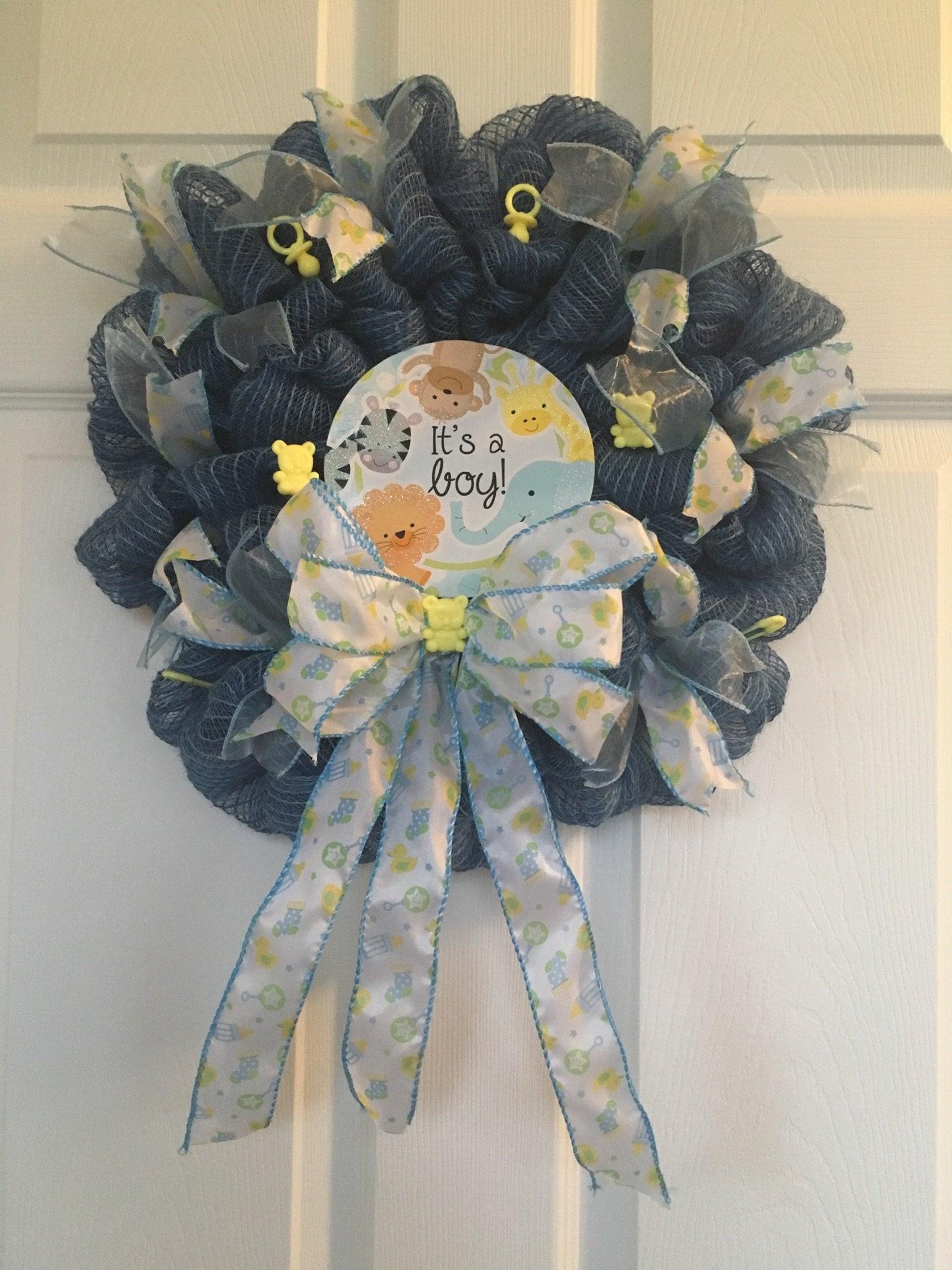 Baby Boy Wreath Denim Blue Burlap Wreath Baby Showers Newborn