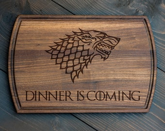 Dinner is coming cutting board Game of Thrones Game of Thrones cutting board GOT Round Cutting Board