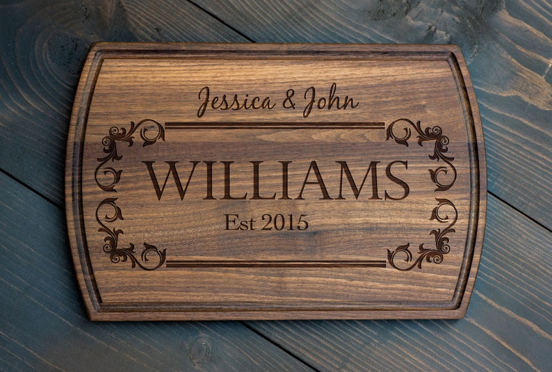 Wooden Cutting Board Bridal Shower Gift Wedding Gift Anniversary Gift Custom Engraved 3164 Personalized Cutting Board