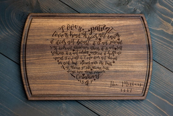Wedding Gift - Corinthians 13 Heart Cutting Board
