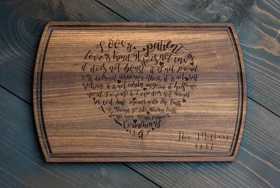 Wedding Gift - Corinthians 13 Heart Cutting Board