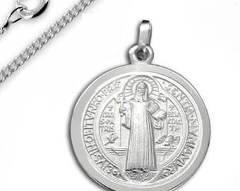 3348b53b72 Sankt Benedikt Kreuz/Medaillon mit Kette-925er Sterling Silber-Made in  Germany