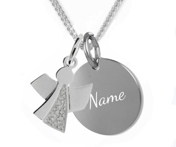 Gravur Gravur Platte mit Schutzengel Kreuz,Silber 925 Taufkette Kinderkette