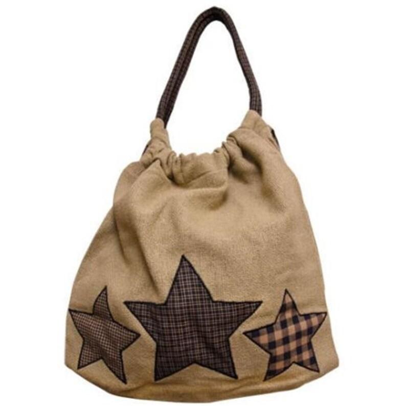 Rustic Farmhouse Star Burlap Tote purse,bag,Hand bag