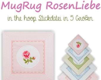 Embroidery file ITH MugRug RosesLove in the hoop