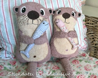 Embroidery file ITH Cuddly OTTER in the hoop otter