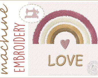 Embroidery file rainbow - machine embroidery design - instant download - rainbow - boho - 3 sizes