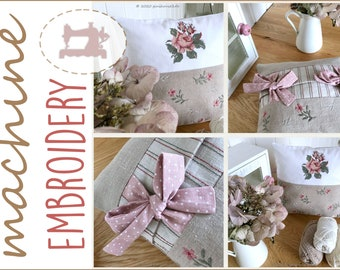 Embroidery file ITH Pillow little rosé - SOFORT DOWNLOAD