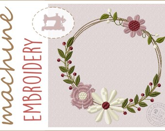 Embroidery file flower wreath - Machine embroidery design - instant download - wreath - flowers - frame