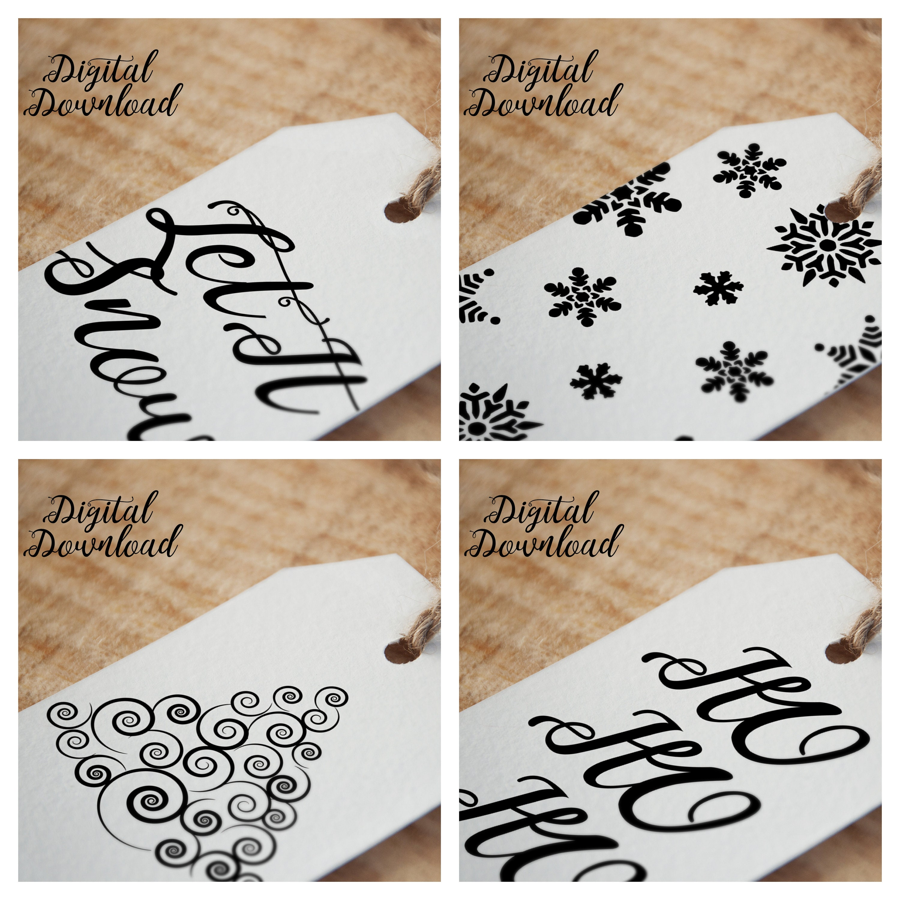 Christmas Gift Tags Print Yourself Gift Tags Downloadable Etsy