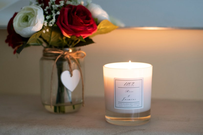 Rose & Jasmine Hand Poured Soy Candle image 0