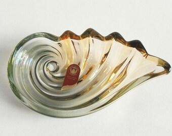 Vintage Crystal Glass Bowl in Waveform, Original Walther Glass