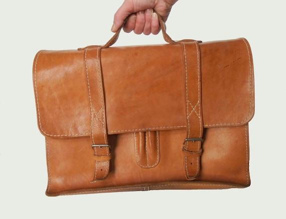 Vintage briefcase leather school bag, cognac brown