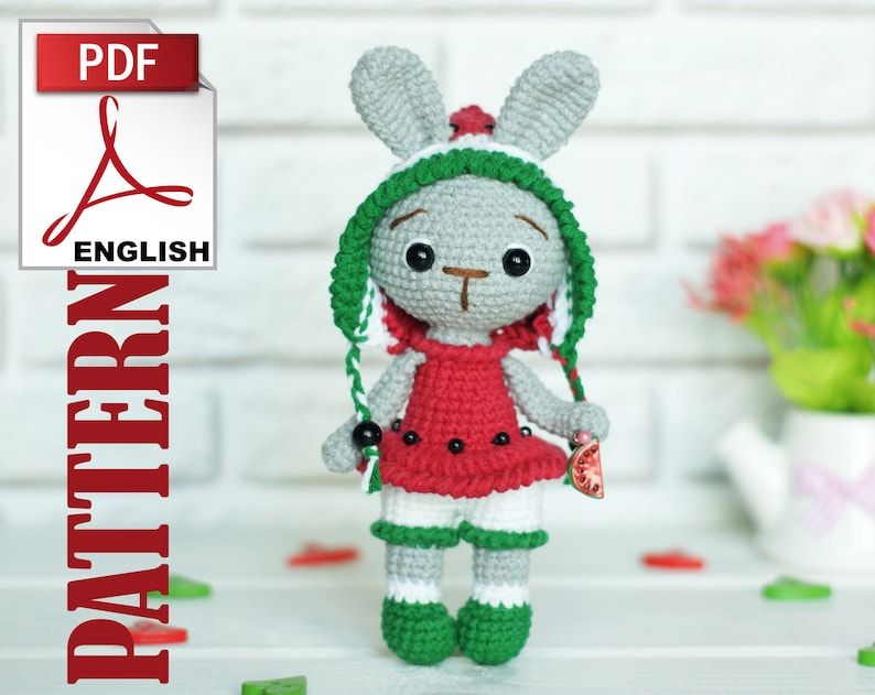 stuffed rabbit Little Bunny The watermelon bunny Amigurumi Crochet Pattern instant download crochet bunny easterbunny PDF pattern