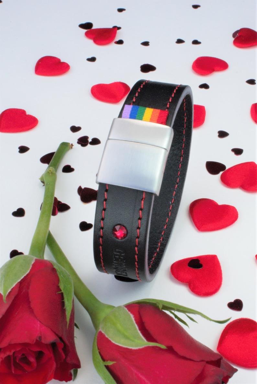 Jewellery GENDERTAG Black Stitched Leather Pride Lesbian Bracelet LGBTQ