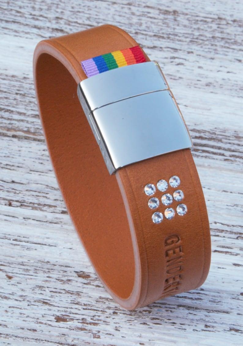 handmade in the UK GENDERTAG Tan Leather Pride in a Relationship Matrix Bracelet LGBTQ Jewellery