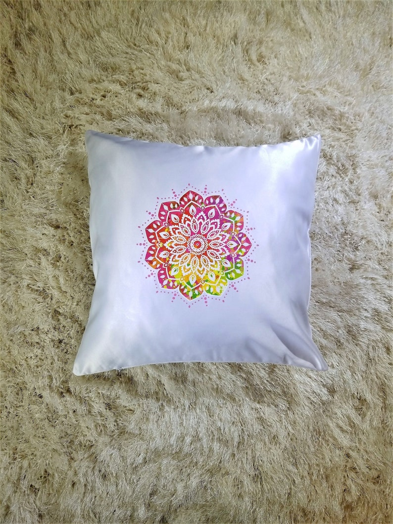 Bright Colorful Mandala Throw Pillow With Removable Cover And Etsy