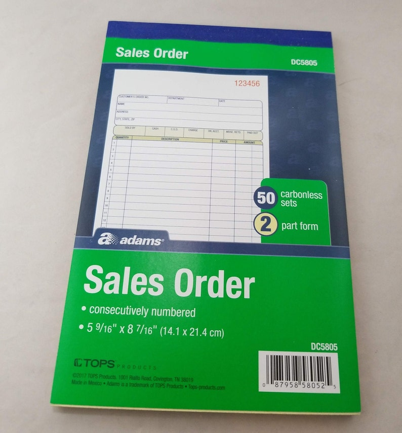 Carbonless 2 part sales order book white/canary, 5-9/16 x 8-7/16 Inches, 50  sales order sets per book