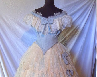 8929c30f48 c.1860 Historical Replica Victorian Ball Gown  Evening Dress perfect for a  Civil  War  Ball  head to toe including corset and undergarments