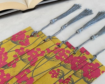 Pink Floral Over Yellow Bookmark with Tassel