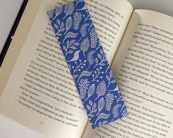 Birds on Blue Bookmark, Thick Decoupaged Handmade Bookmark, No Tassel Nature Bookmark Gift for Reader, Gift Wrapped Bookmarks