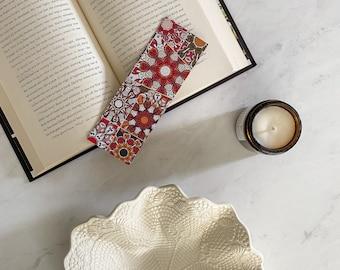 Kaleidoscopic Bookmark, Decoupaged Bookmark, Bohemian Book Accessories