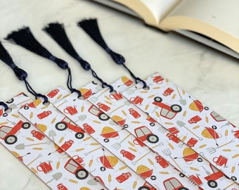 Tractor Bookmark, Reversible Red Plaid Farm Themed Bookmarks with Tassels