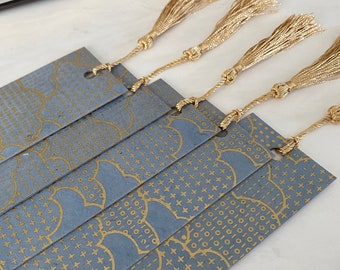 Cloud Bookmark, Metallic Gold Clouds Over Blue Sky, Thick Decoupaged Handmade Bookmark