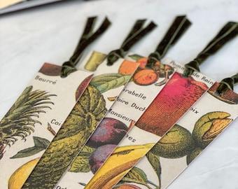 Vintage Fruit Bookmark with Velvet Ribbon, Book Accessories, Handmade Gift for Reader