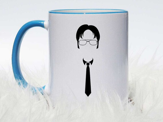 047a4c76a1a Simple Dwight Schrute Coffee Mug Dwight Head and Tie Mug   Etsy