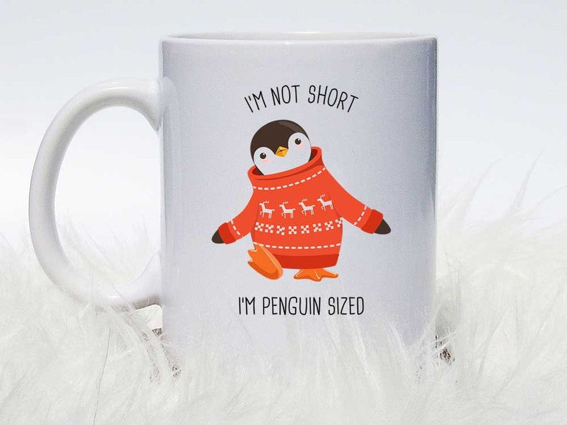 Cute Lid Or Funny With Sizedgt; Not Mug Coffee I'm Short Gift Penguin Cup 67bfgy