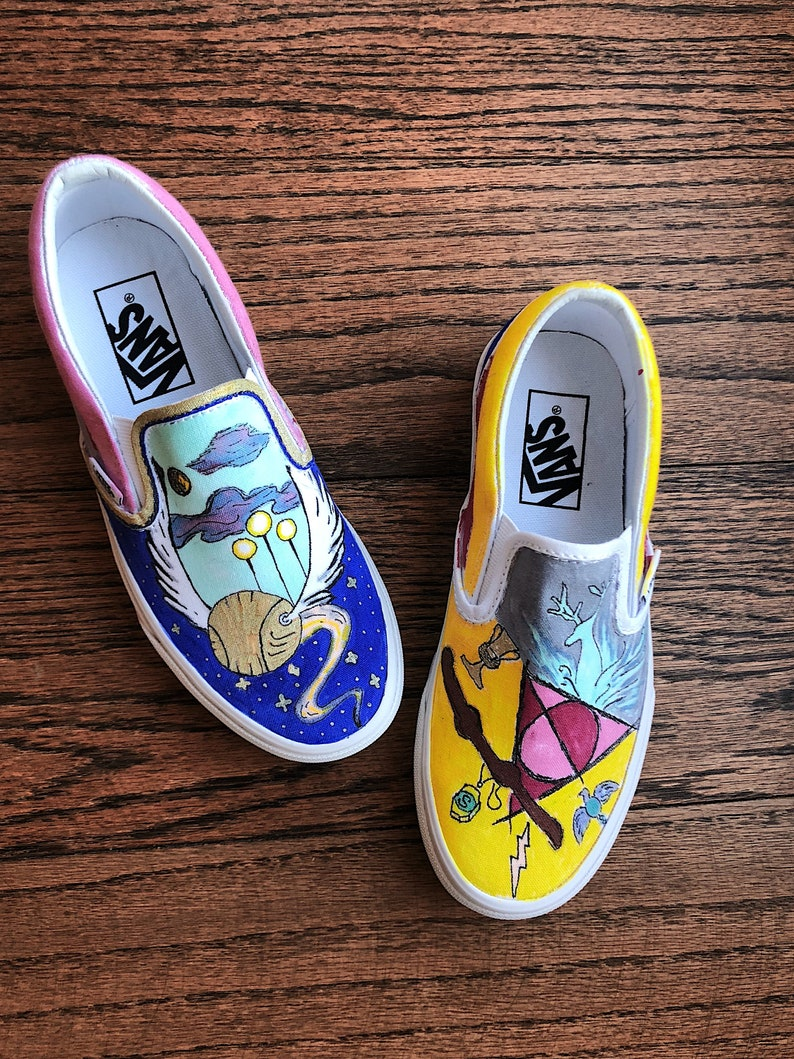 58416177a83 Harry Potter Custom Vans Horcrux Design Deathly Hallows