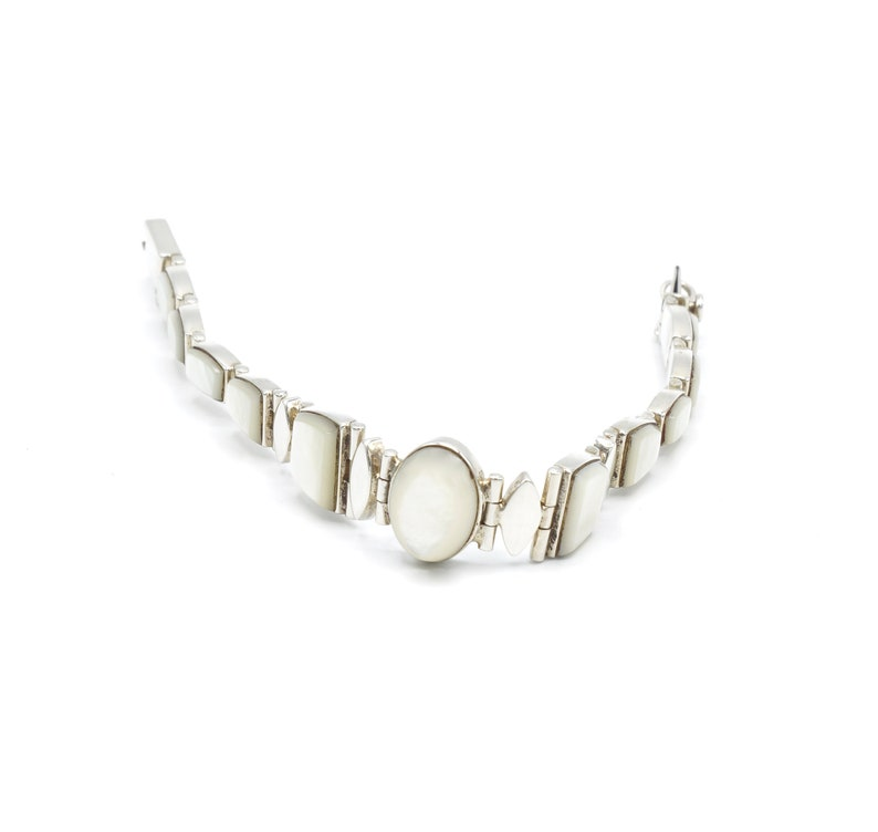 silver 950 Sterling silver Unique gift for her natural stones  luxury bracelet Mother of Pearl Women Bracelet with sterling silver