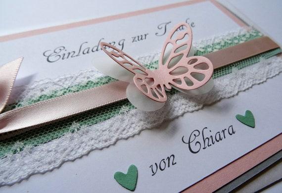 Einladung Zur Taufe Schmetterling Spitze 10 Stück Mit Text
