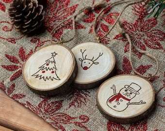 wood slice ornament wooden christmas ornament rustic wood ornaments - Wooden Christmas Ornaments