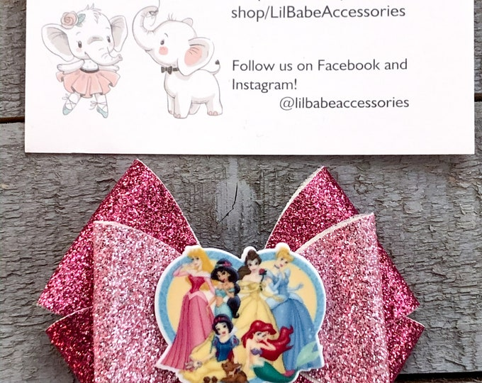 princess bows Glitter faux leather bows faux leather bows princess hair clips kids birthday gift princess accessories