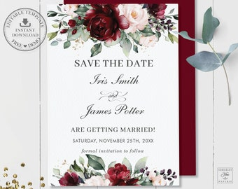 Monogram Rustic Wedding PDF Editable Text Evelyn Save the Date Template Instant Download Floral Wedding