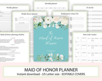 photograph relating to Maid of Honor Printable Planner known as Maid of honor binder Etsy
